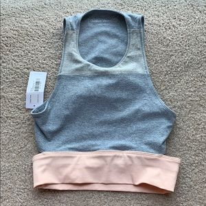 Outdoor Voices crop grey and pink athletic top